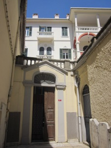 Inner courtyard of S.S. Peter & Paul RC Church in Galata. The Ottoman Empire did not allow Christians to build churches on top of hills or fronting directly onto any streets.